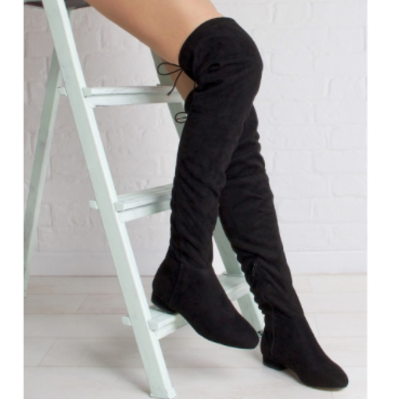 0d9597f7f35 Black Over The Knee High Suede Back Tie Boots